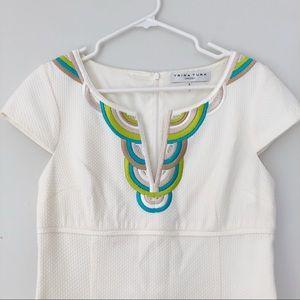 Trina Turk Cotton Dress with Embroidered Neckline